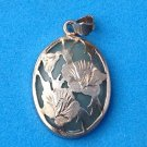 "LOVELY UNMARKED SILVER TONE & TRANSLUCENT GREEN STONE PENDANT 1 1/8"" X 1/2"""