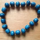 """VINTAGE @1"""" DIAMETER LIGHT WEIGHT DEEP TEAL TURQUOISE BEADED NECKLACE 20"""" LONG"""