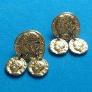 "VINTAGE DANGLING COINS GOLD TONE PIERCED EARRINGS 1 1/4"" X 1"""