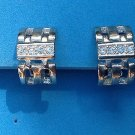 "VINTAGE SILVER TONE & RHINESTONE CLIP ON EARRINGS 1"" x 1/2"".....PRETTY !"