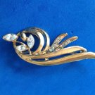 "VINTAGE ART DECO GOLD TONE & RHINESTONES STYLIZED FLOWER PIN 2 3/4"" X 1"""
