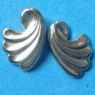 "PRETTY SILVER TONE SWIRL DESIGN PIERCED EARRINGS 3/4"" X 1/2"" - CLASSIC"