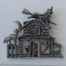 "FUN HALLOWEEN PIN BY ""AAi "" 2"" X 1 3/4"" HAUNTED HOUSE WITCH GHOST SKULL SCARDY CAT"