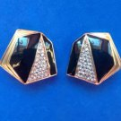 "LOVELY GOLD TONE RHINESTONE BLACK ENAMEL CLIP ON EARRINGS 1"" X 1 1/8"" SO CLASSY"