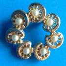 VINTAGE SWIRLING CIRCLE PIN WITH CREAM COLORED PEARLS