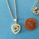 "VINTAGE AVON DOUBLE RHINESTONE HEART PENDANT NECKLACE UP TO 17"" CHAIN 1"" x 1/2"""