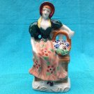 MADE IN OCCUPIED JAPAN FIGURINE STATUE LADY IN BONNET WITH FLOWER BASKET
