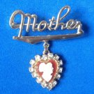 "VINTAGE ""MOTHER"" DANGLE CAMEO HEART RHINESTONE PIN 2"" X 1 3/4"" GREAT CONDITION !"