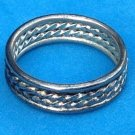 """VINTAGE UNISEX SILVER - SILVER TONE? UNMARKED BAND RING SIZE 7 1/2 X 1/4"""" THICK"""