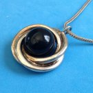"Vintage Black Rotating Stone In Silver Tone Pendant On A 1/8""x17"" Chain Necklace."