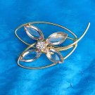 "VINTAGE GOLD TONE WITH CLEAR & LIGHT AMETHYST RHINESTONES FLOWER PIN 2"" X 1 1/4"""