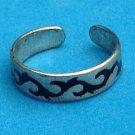 """Sterling silver black enamel open ring @ size 6 x 3/16"""" wide - uni sex."""