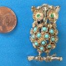 "VINTAGE GOLD TONE FAUX TURQUOISE & GREEN RHINESTONE OWL PIN 1 7/8"" X 1"""