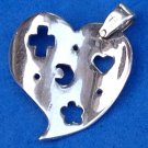 "Sterling silver heart pendant, wavy cut out cross. moon. heart & flower 1"" x 7/8""."