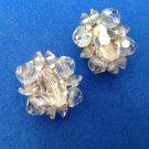 "Clip earrings Aurora Borealis cut crystal bead  @ 1"" x 3/4""."
