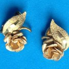 "Clip earrings, roses,  gold tone textured & shiny @1"" x 3/4""."