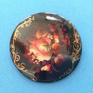 """Pin, flowers hand painted, multi colored. Artist signed 2"""" diam."""