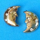 "Pierced earrings, moon, clear stones, gold tone  ""CC"" 3/4"" x 5/8"" ."