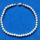 """Choker necklace, faux pearl, rhinestone clasp, single strand knotted 16.5""""."""