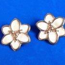 """Pierced earrings, cream & gold tone large flower @ 1 3/8"""" in diameter."""