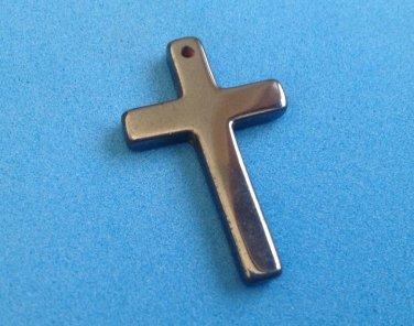 "Hematite crucifix cross pendant, christian 1 1/4"" x 3/4"". Needs a loop."