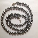 "Necklace, gray faux pearl 30"" long x 3/8"" diameter single strand."