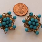 Clip earrings, turquoise beads in gold tone setting - vintage .