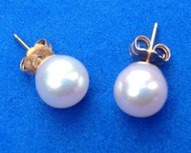 Pierced earrings, white pearl & 14k yellow gold.