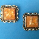 "Encased pearls clip earrings, in gold tone setting  1 1/4"" square - unusual."
