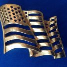 "Flag pin, gold tone, satin finish. 2 1/2"" x 1 3/4"" - big, bold & beautiful . Old glory."