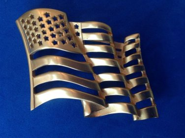 "Flag pin, gold tone, satin finish. 2 1/2"" x 1 3/4"" - big, bold & beautiful . Old glory."