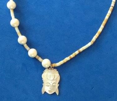 "MOP cameo beaded necklace. Mother of pearl, asymmetrical, faux pearl  20""."