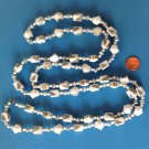 "Bead necklace, white  & gold plastic, 54"" long light weight."