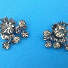 "Clip on earrings, gray rhinestone, vintage -  leaf floral design 1 1/4"" x 1 1/4""."