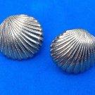 """Shell pierced stud earrings. Elegant, gold tone @ 3/4"""" in diameter."""