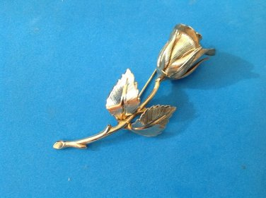 """Giovanni""  pin, rose bud, gold tone  2 1/2"" x 1""."
