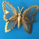 "Butterfly pin, gold tone  2"" x 1 1/2""."