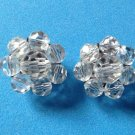 "Clip on earrings,cut crystal bead cluster, vintage ,silver tone 1"" in diameter."
