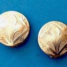 """Clip on earrings. Fleur De Lis etched silver tone  @ 1"""" diameter. Vintage."""