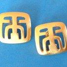 """Pierced earrings gold tone, satin finish 3/4"""" square."""