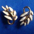 "Pierced earrings, gold tone & cream enamel, leaf design  1"" x 1/2"" ."