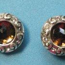Pierced stud earrings, faceted topaz  & silver.