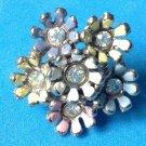 "Pin multi colored enamel & rhinestone flower 1"" in diameter."
