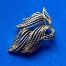 Monet pin, gold tone, textured flowing design - large.