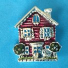 """Danecraft pin, enamel house with sold sign in front, silver tone 1.5 x 1.25""""."""