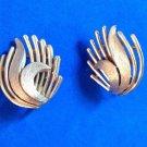 Clip earrings Crown Trifari gold tone  - shiny & satin finish.