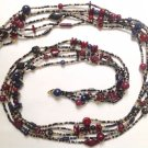 """Multicolored beaded necklace, five strand, lightweight - 60"""" long !!"""