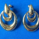 Napier door knocker screw / clip on earrings shiny gold tone.