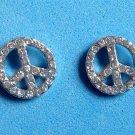 Rhinestone pierced stud earrings, peace sign silver tone   - all stones intact.