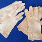 Antique lady's gloves.- 2 pairs. 1 is hand made - with pink flowers & embroidery.